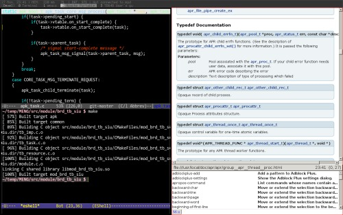 developer's desktop: stumpwm + emacs + conkeror