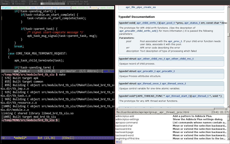 developer's desktop: stumpwm + emacs + conkeror — Скриншоты