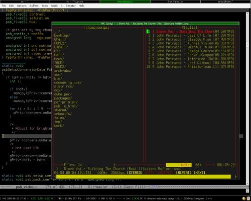 ion3, mocp, emacs