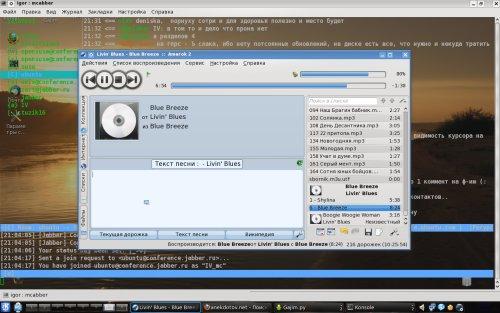 Slackware-13 прозрачная консоль с mcabber и amarok-2