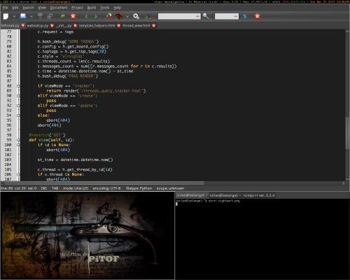 Ubuntu 9.10, Xmonad, geany, mplayer. Работаем ночью.