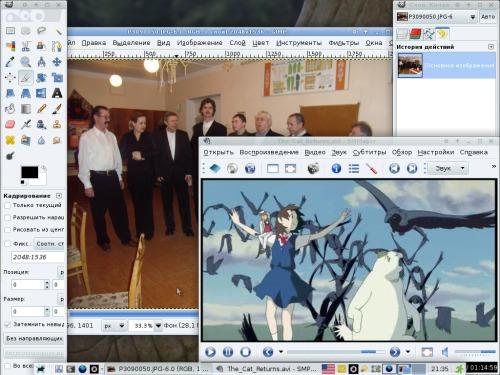 ArchLinux, XFCE, Audacious, QutIM, GIMP и аниме