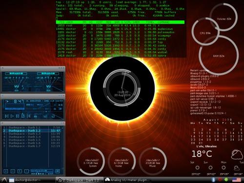 Openbox + Conky - космический десктоп.