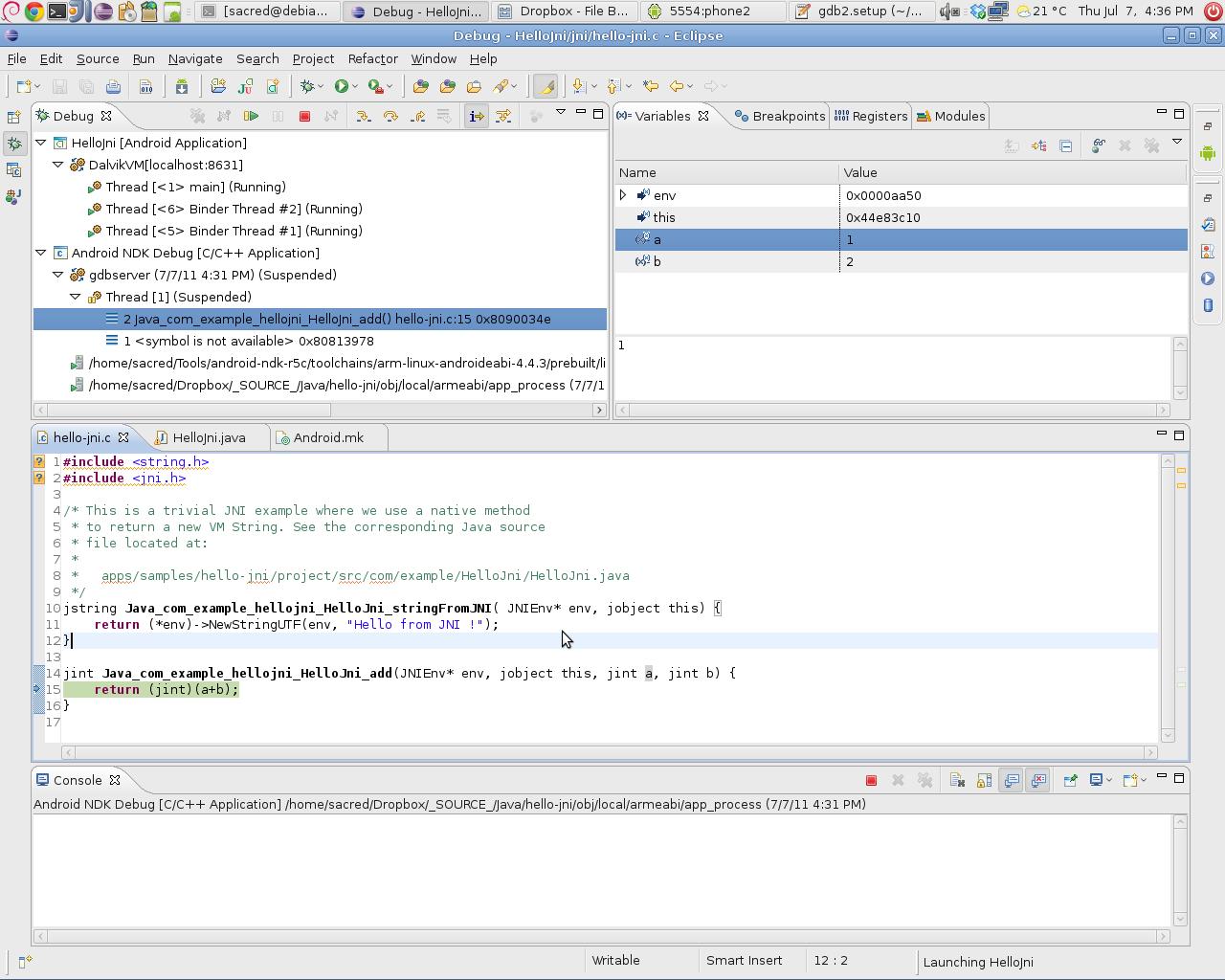 Android NDK debug — Скриншоты — Галерея