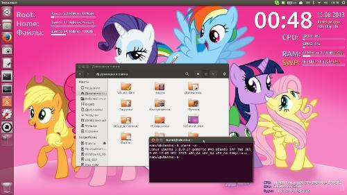 Ubuntu 13.04, Unity, Conky и MLP