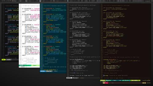 Один Vim с разными цветсхемами для разных задач в различных терминалах. (+ awesome)