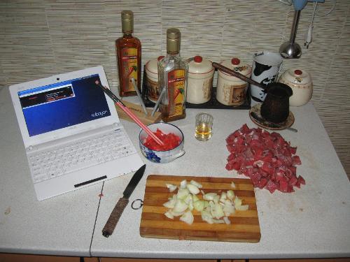 мясо, водка, sabayon