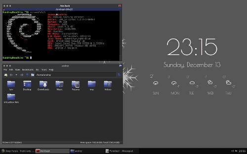 Debian, openbox и коньки с погодой