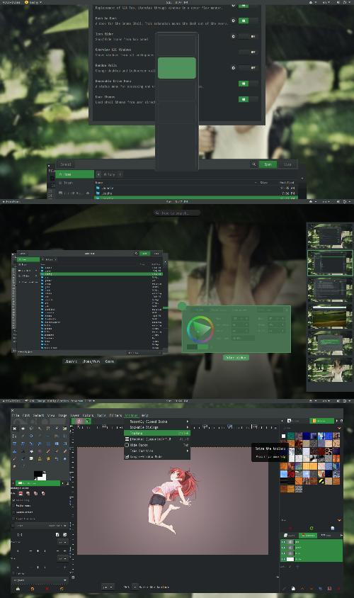 Зеленый Gnome3 default edition