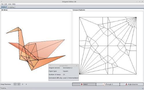 Бумажный журавлик в Origami Editor 3D