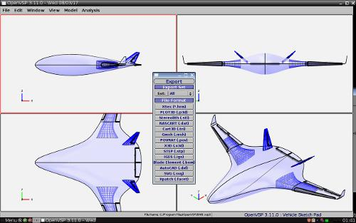 Скриншот: OpenVSP 3.11.0 + Blended Wing Body