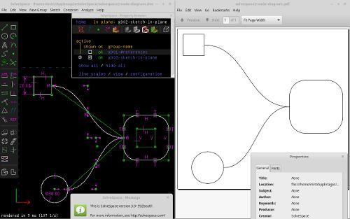 Скриншот: Создание диаграмм  со через SolveSpace