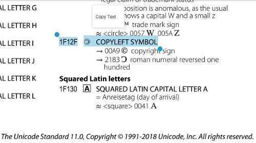 В стандарт Unicode 11.0 добавлен «COPYLEFT SYMBOL»