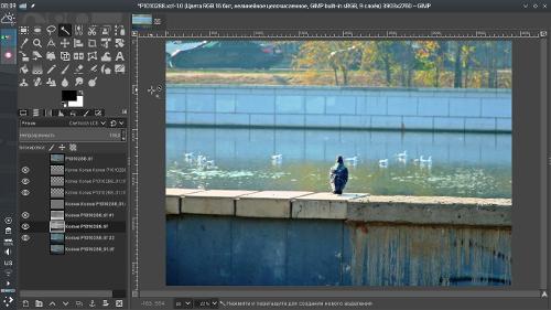 GIMP, 1366x768, чайки в тумане