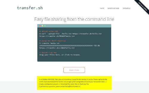 Файлообменник transfer.sh будет закрыт с 30 октября