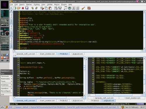 jEdit, OpenBox и PKGBUID