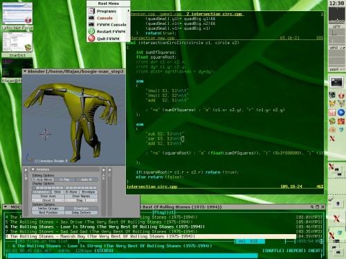 Геймдевим...(FVWM 2.5.16, Blender 2.42a, VIM70, MOCp)