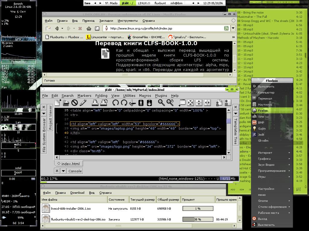 Gnome, gnome+OpenBox,       FluxBox — Скриншоты — Галерея