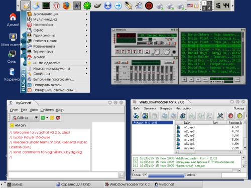 KDE VyQchat XMMS WebDownloader