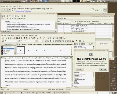 Дебиан. Кноппикс.Убунту.Гном 2.9. OpenOffice 1.9.x - максимальный unstable
