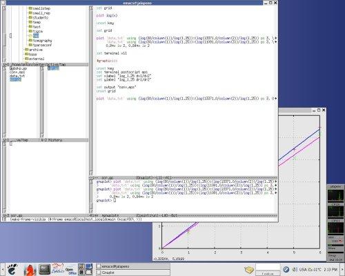 emacs gnuplot-mode + общий вид