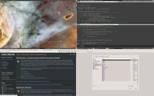 Обычный gentoo, awesome, emacs
