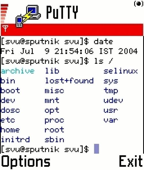 putty/symbian как средство удаленного управления линухом