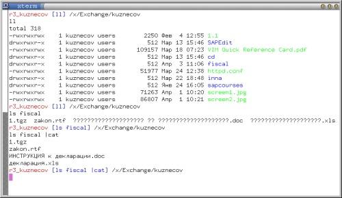 xterm, zsh с темой bart, ru_RU.UTF-8 и ls
