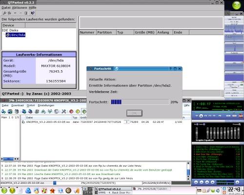 QTParted 0.2.2 в действии