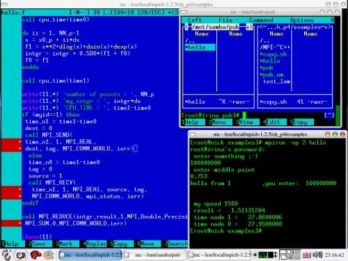 RH 9.0 + Gnome 2.2 + MPICH 1.2.5