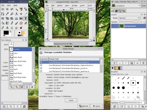 Интерфейс gimp 2.0.0