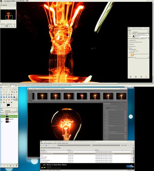 Фотографии лампочек, Gimp, Rawstudio и Debian testing