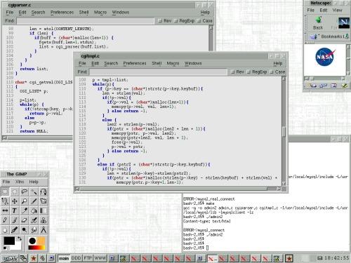 Slackware 8.0 + NEdit + NASA ;-)