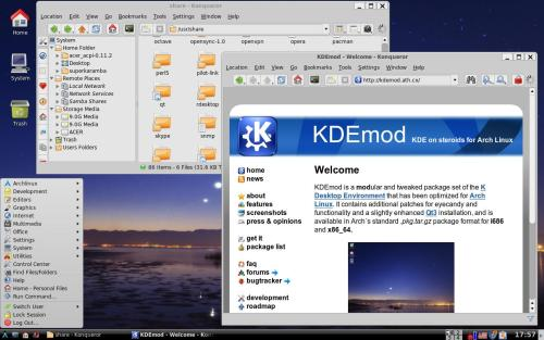 Дефолтный KDE из репозитория KDEmod for Arch Linux